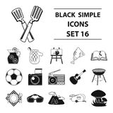 Picnic set icons in black style. Big collection of picnic vector symbol stock illustration Stock Photography