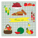 Picnic set illustration Royalty Free Stock Photos