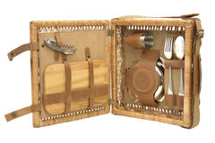 Picnic Sets. Bag for picnic with plate, fork, journey, wineglass, cup, spoon Royalty Free Stock Image
