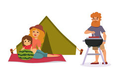 Picnic setting with fresh food hamper basket barbecue resting couple and summer meal party family people lunch garden Royalty Free Stock Image