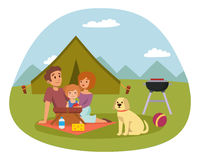 Picnic setting with fresh food hamper basket barbecue resting couple and summer meal party family people lunch garden Stock Images