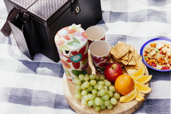 Picnic setting with fresh food Stock Photo