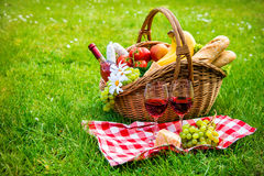 Picnic setting on meadow. With copy space Stock Photography