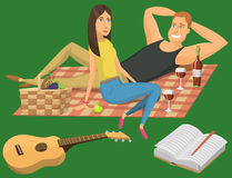 Picnic setting with red wine glasses guitar barbecue resting couple vector character illustration Royalty Free Stock Photos