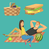 Picnic setting with red wine glasses picnic hamper basket. Barbecue resting couple vector character. Picnic setting with red wine glasses picnic hamper basket Stock Images