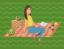 Picnic setting with red wine glasses picnic hamper basket. Barbecue resting woman vector character. Picnic setting with red wine glasses picnic hamper basket Royalty Free Stock Photo