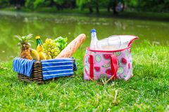 Picnic setting with white wine, pears, fruits, Royalty Free Stock Image
