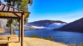 Picnic Shelter at Reservoir. This picnic shelter is at El Capitan Reservoir in San Diego Royalty Free Stock Photography