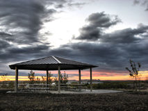 Picnic Shelter At Sunrise Stock Images