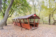 Picnic Shelter in the Woods Stock Images