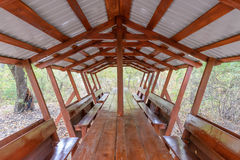Picnic Shelter in the Woods Royalty Free Stock Photography