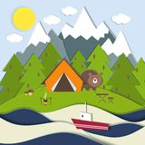 Picnic on the shore of a mountain lake. Vector landscape depicting a campsite and picnic on the shore of a mountain lake with a bear peeking around the tent at a Royalty Free Stock Photo
