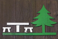 Picnic sign. Picnic area road sign painted on wood Stock Photography