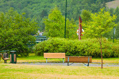 Picnic site, rest place with benches outdoor Royalty Free Stock Images