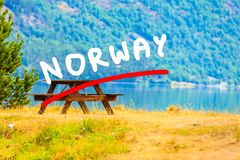 Picnic site table and benches near fjord in Norway, Royalty Free Stock Photo