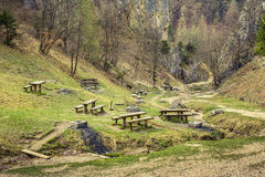 Picnic site in the valley. Of Solomon's Stones, a well known tourist attraction near Brasov city, Romania Royalty Free Stock Images