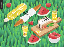 Picnic snack on grass Stock Photo