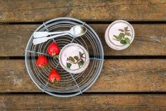 Picnic with strawberry yogurt Stock Photo