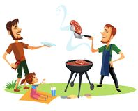 Picnic summer barbeque party poster. Vector illustration. Men and kid waiting for cooked roasted tasty meat. Male standing with plate and little girl sitting royalty free illustration