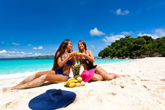 Picnic on summer beach Stock Photos