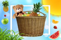 Picnic on a Sunny summer day, the picnic basket is filled with fruit. Daisies and the sun in the company of a Teddy bear on vacati royalty free illustration
