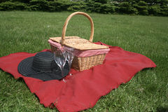 Picnic Supplies. The red blanket is spread out for a picnic Stock Images