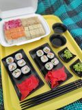 Picnic with sushi in nature royalty free stock images