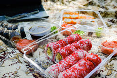 Picnic. Sushi outdoors on a summer day Stock Images