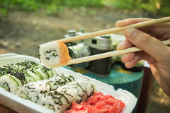 Picnic. Sushi outdoors on a summer day. Day off in the park stock photos