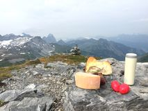 Picnic in the swiss alps on the top of the mountain maerchstoeckli stock image