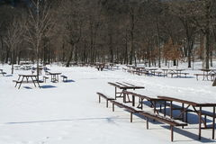 Picnic tabes in winter. Picnic tables gathered for the winter and covered in snow Stock Image