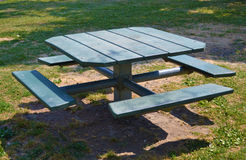 Picnic table. A generic picnic table at a park in Hartford, Illinois Stock Image
