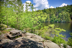 Picnic Table. View of picnic table overlooking a lake in summer royalty free stock photography