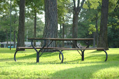 Picnic Table. Empty picnic table sits under some cover of big tree's by the lake Royalty Free Stock Photography