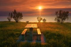 Picnic table in Barrika coast at sunset. Picnic table in Barrika coast at the sunset stock photography
