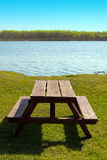 Picnic Table At The Beach Stock Images