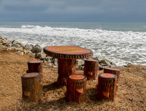 picnic table on beach Stock Photos