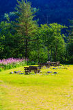 Picnic table and benches in Norway, Europe. Royalty Free Stock Photography