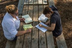 Picnic table Bible studiy Royalty Free Stock Photo