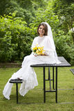Picnic Table Bride Royalty Free Stock Photo