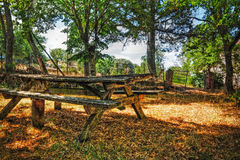Picnic table in Burgos forest Royalty Free Stock Images