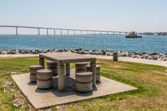 Picnic Table and Chairs at Embarcadero Park in San Diego Stock Photo