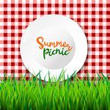 Picnic table cloth. Seamless checkered vector pattern. Vintage color plaid fabric texture. Vector realistic 3d illustration of white empty plate, gingham red Stock Illustration
