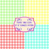 Picnic table cloth. Set of four pastel color square patterns Stock Photos