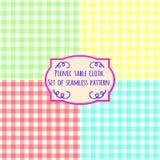 Picnic table cloth. Set of four pastel color square patterns. Picnic table cloth. Set of four pastel color square seamless pattern Stock Photos