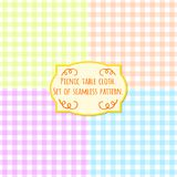 Picnic table cloth. Set of four pastel color square seamless pattern.  Royalty Free Stock Image