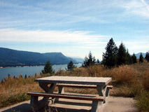 Picnic table on the columbia river. Having lunch on a beautiful fall day on the columbia river Royalty Free Stock Images