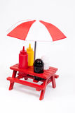 Picnic Table Condiments, vertical Royalty Free Stock Image