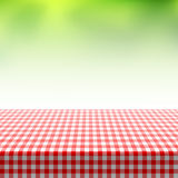 Picnic table covered with checkered tablecloth Stock Images
