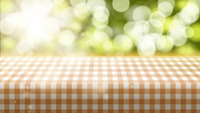 Picnic Table Covered With Tablecloth On Blurred Background Stock Photography